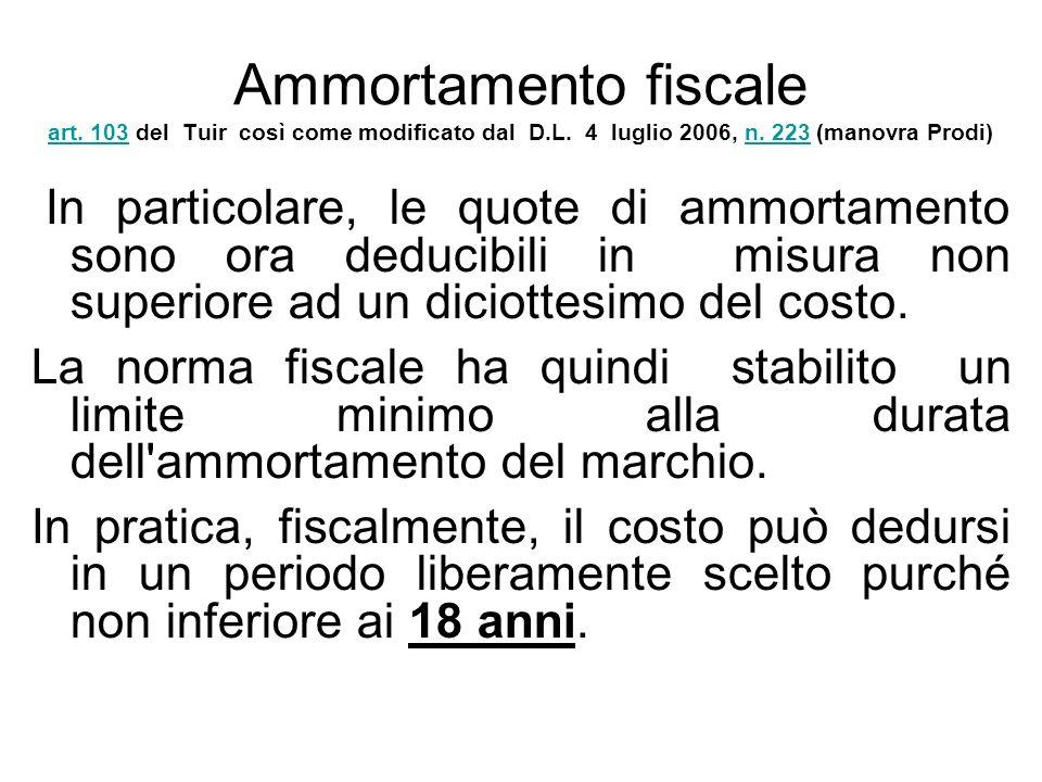 Ammortamento fiscale art. 103 del Tuir così come modificato dal D.L. 4 luglio 2006, n. 223 (manovra Prodi) art. 103n. 223 In particolare, le quote di