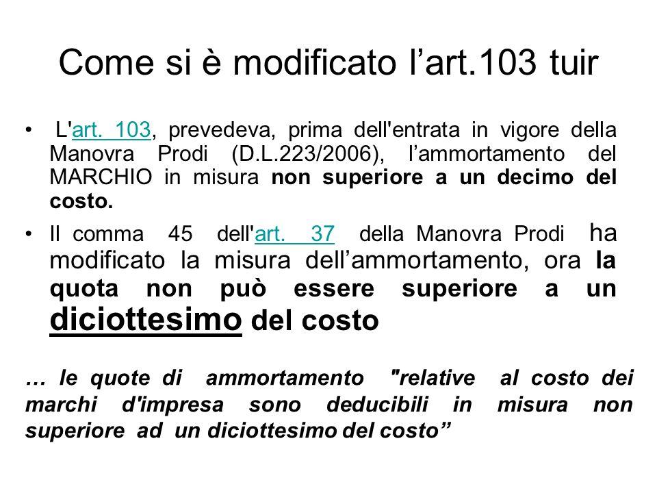 Come si è modificato lart.103 tuir L'art. 103, prevedeva, prima dell'entrata in vigore della Manovra Prodi (D.L.223/2006), lammortamento del MARCHIO i