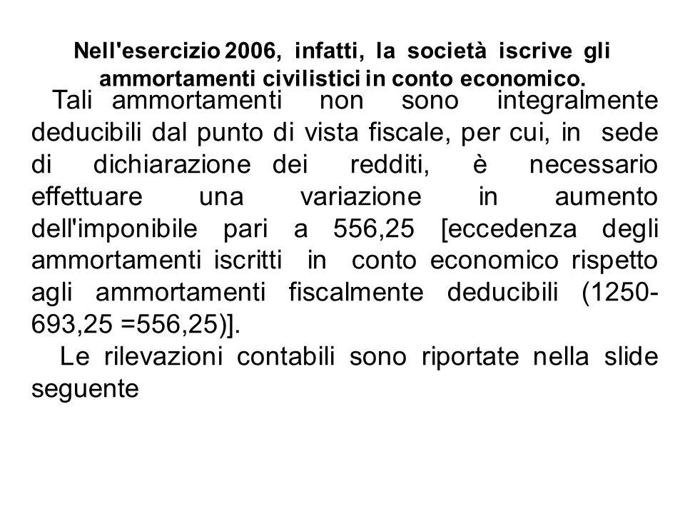Nell'esercizio 2006, infatti, la società iscrive gli ammortamenti civilistici in conto economico. Tali ammortamenti non sono integralmente deducibili