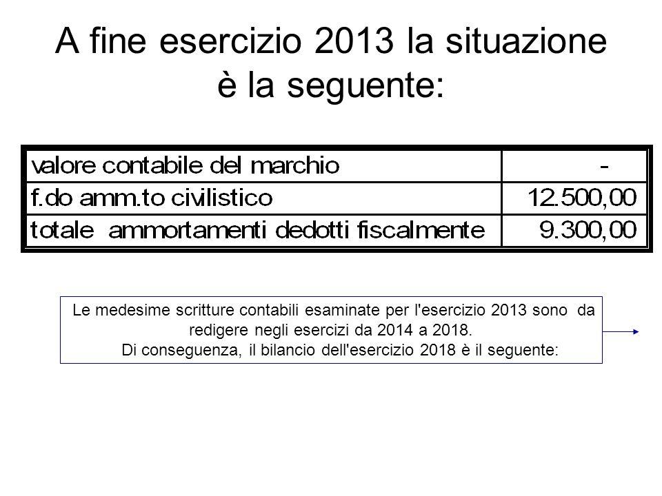 A fine esercizio 2013 la situazione è la seguente: Le medesime scritture contabili esaminate per l'esercizio 2013 sono da redigere negli esercizi da 2