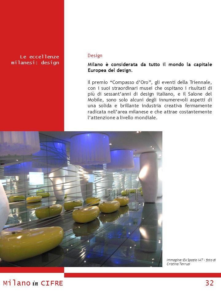 Milano in CIFRE 32 Le eccellenze milanesi: design Design Milano è considerata da tutto il mondo la capitale Europea del design. Il premio Compasso dOr