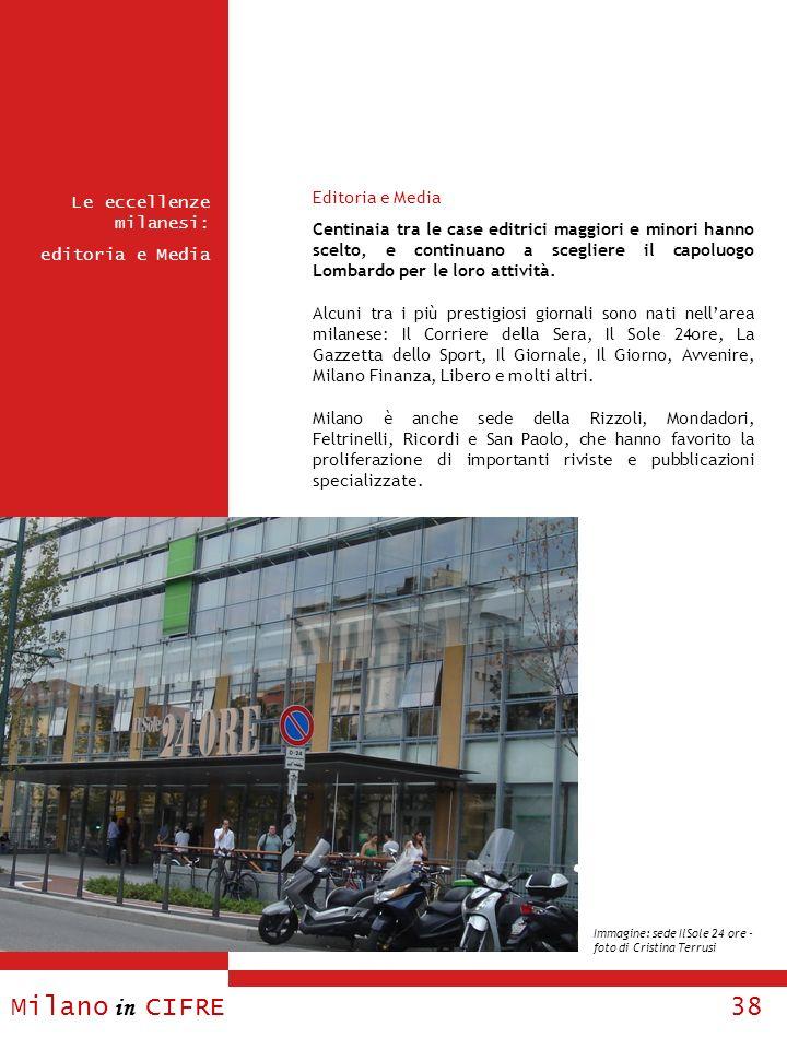 Milano in CIFRE 38 Le eccellenze milanesi: editoria e Media Editoria e Media Centinaia tra le case editrici maggiori e minori hanno scelto, e continua