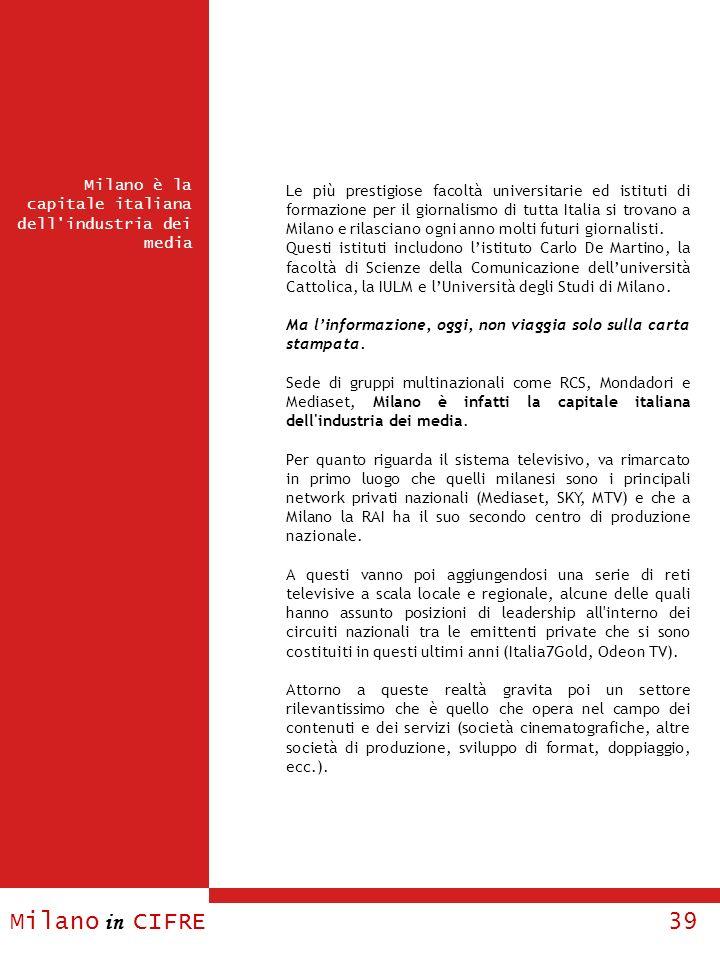 Milano in CIFRE 39 Milano è la capitale italiana dell'industria dei media Le più prestigiose facoltà universitarie ed istituti di formazione per il gi