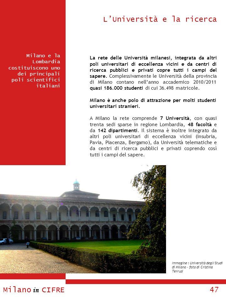 Milano in CIFRE 47 Milano e la Lombardia costituiscono uno dei principali poli scientifici italiani LUniversità e la ricerca La rete delle Università