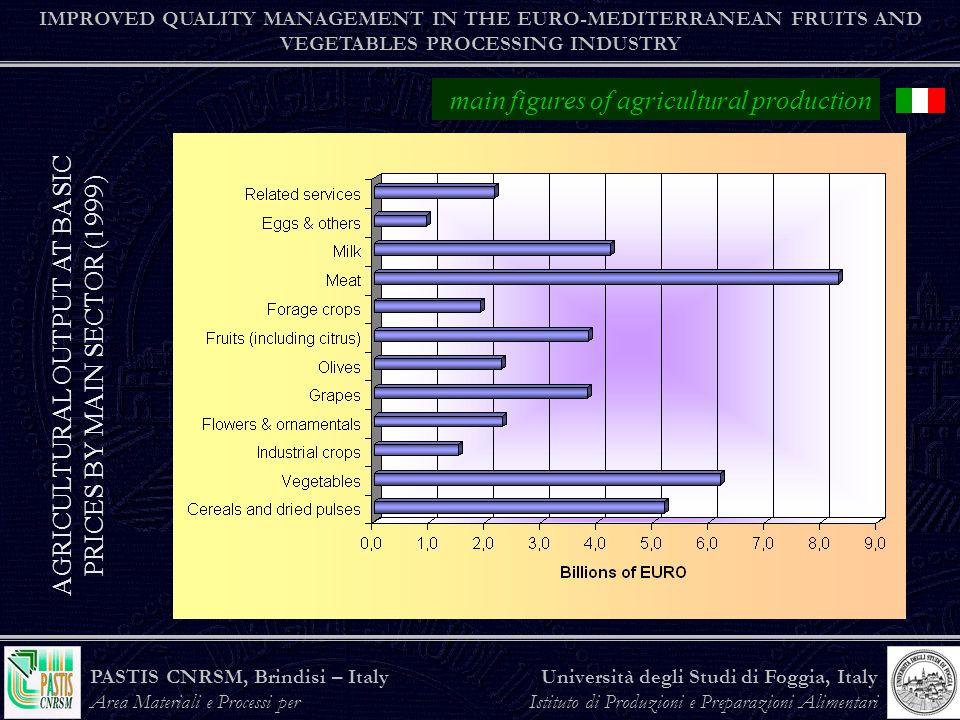 PASTIS CNRSM, Brindisi – Italy Area Materiali e Processi per lAgroindustria Università degli Studi di Foggia, Italy Istituto di Produzioni e Preparazioni Alimentari the agro-food industry IMPROVED QUALITY MANAGEMENT IN THE EURO-MEDITERRANEAN FRUITS AND VEGETABLES PROCESSING INDUSTRY Data 1999 TURNOVER BY SECTOR