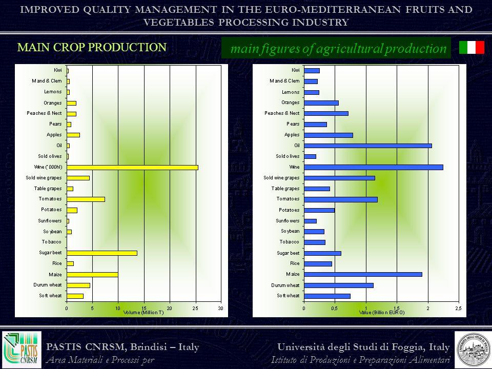 PASTIS CNRSM, Brindisi – Italy Area Materiali e Processi per lAgroindustria Università degli Studi di Foggia, Italy Istituto di Produzioni e Preparazioni Alimentari the agro-food industry IMPROVED QUALITY MANAGEMENT IN THE EURO-MEDITERRANEAN FRUITS AND VEGETABLES PROCESSING INDUSTRY