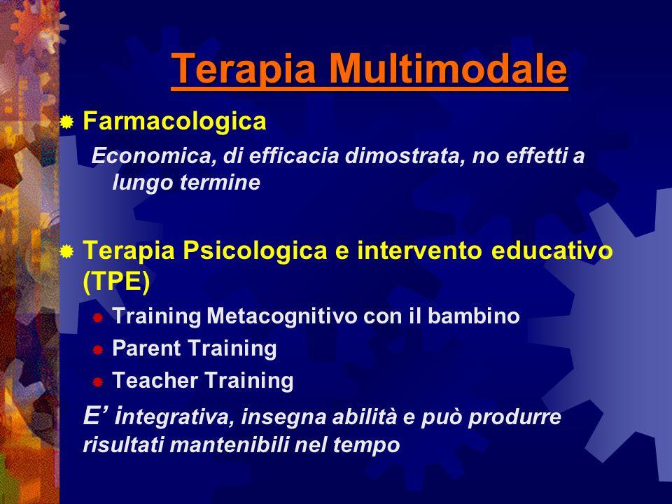 Terapia Multimodale Farmacologica Economica, di efficacia dimostrata, no effetti a lungo termine Terapia Psicologica e intervento educativo (TPE) Trai
