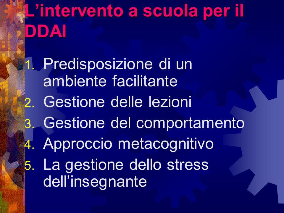 Lintervento a scuola per il DDAI 1. Predisposizione di un ambiente facilitante 2. Gestione delle lezioni 3. Gestione del comportamento 4. Approccio me