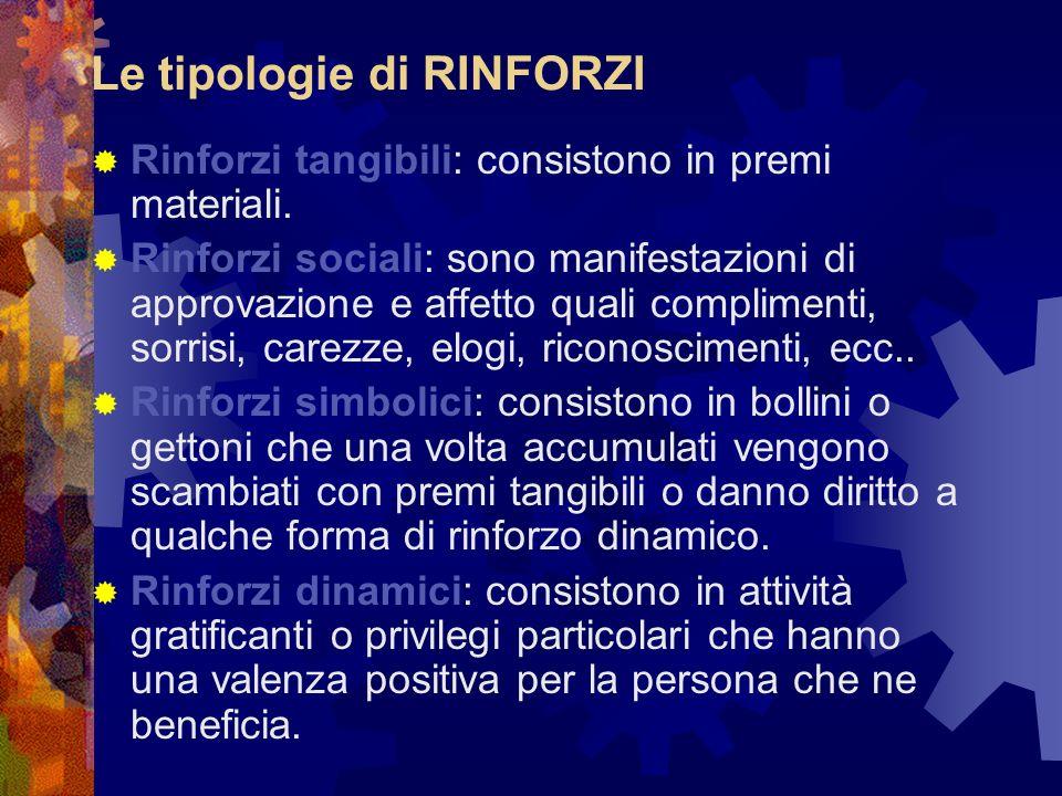 Le tipologie di RINFORZI Rinforzi tangibili: consistono in premi materiali. Rinforzi sociali: sono manifestazioni di approvazione e affetto quali comp