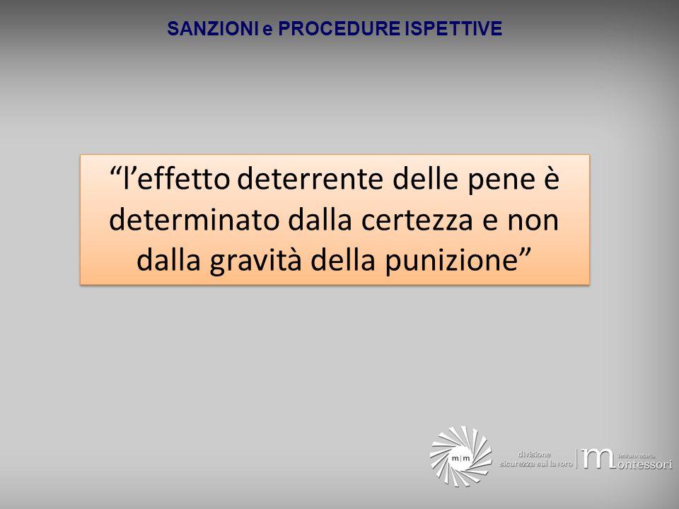 SANZIONI e PROCEDURE ISPETTIVE leffetto deterrente delle pene è determinato dalla certezza e non dalla gravità della punizione