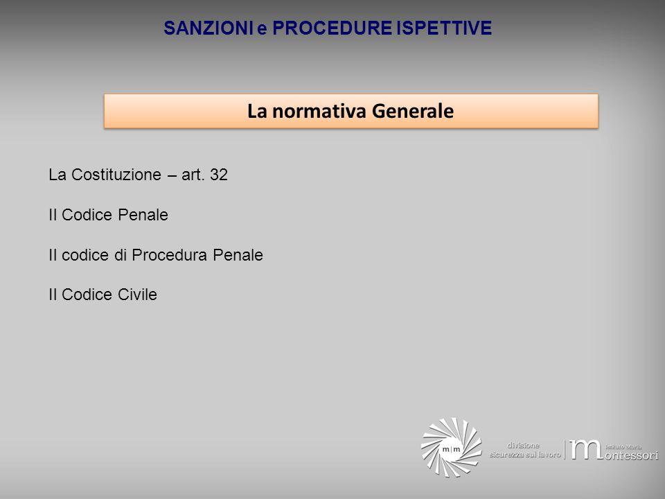 SANZIONI e PROCEDURE ISPETTIVE La normativa Generale La Costituzione – art. 32 Il Codice Penale Il codice di Procedura Penale Il Codice Civile