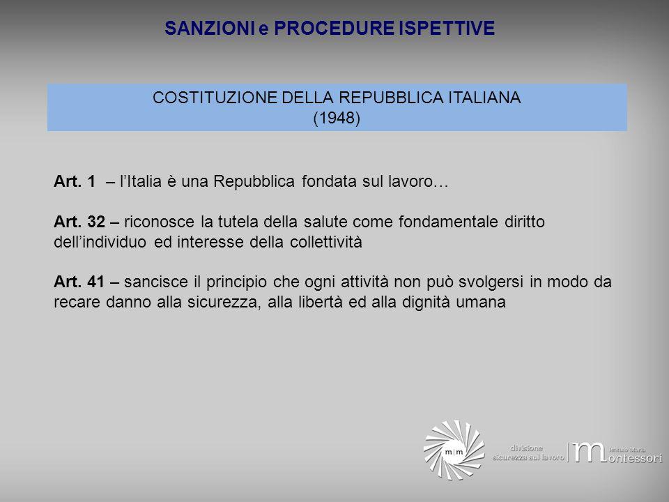 SANZIONI e PROCEDURE ISPETTIVE COSTITUZIONE DELLA REPUBBLICA ITALIANA (1948) Art. 1 – lItalia è una Repubblica fondata sul lavoro… Art. 32 – riconosce