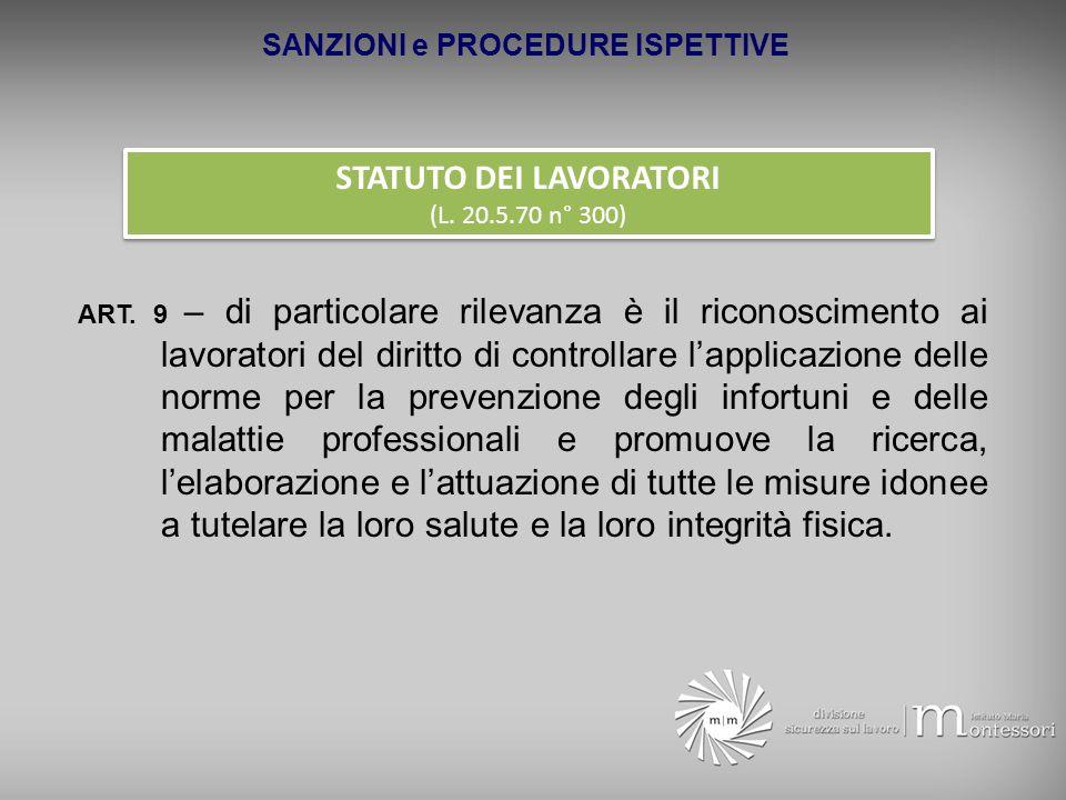 SANZIONI e PROCEDURE ISPETTIVE STATUTO DEI LAVORATORI (L. 20.5.70 n° 300) STATUTO DEI LAVORATORI (L. 20.5.70 n° 300) ART. 9 – di particolare rilevanza