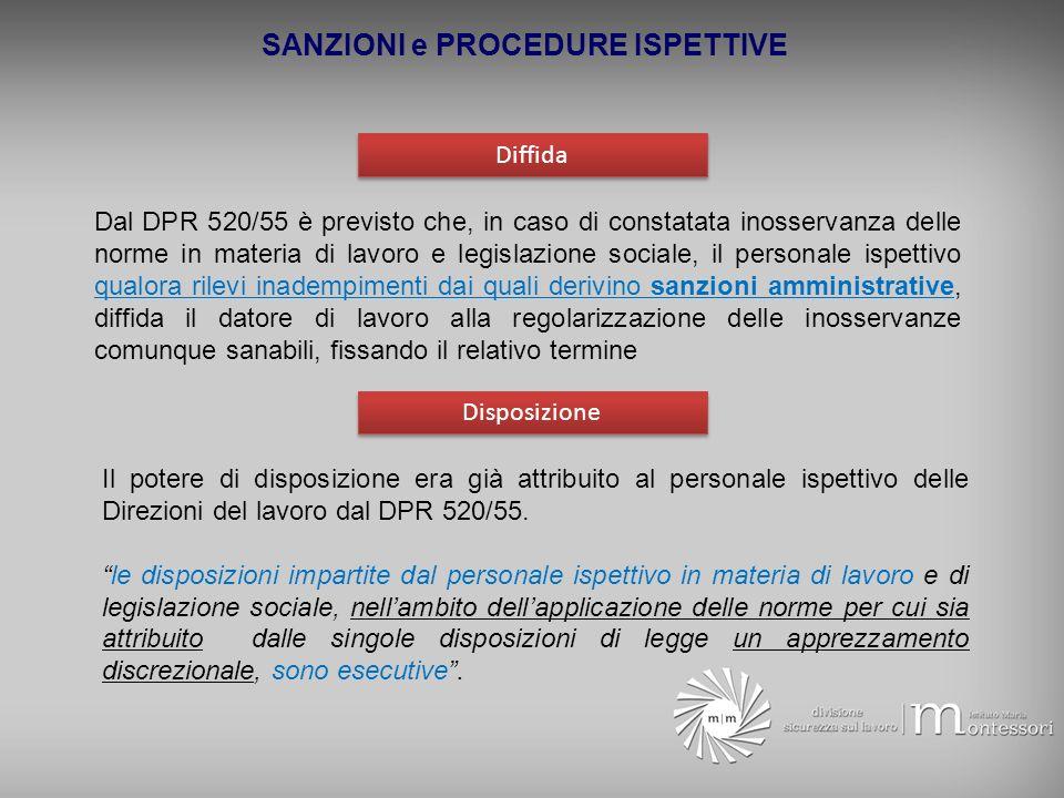 SANZIONI e PROCEDURE ISPETTIVE Diffida Dal DPR 520/55 è previsto che, in caso di constatata inosservanza delle norme in materia di lavoro e legislazio