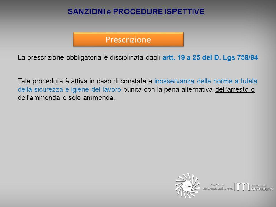 SANZIONI e PROCEDURE ISPETTIVE Prescrizione La prescrizione obbligatoria è disciplinata dagli artt. 19 a 25 del D. Lgs 758/94 Tale procedura è attiva
