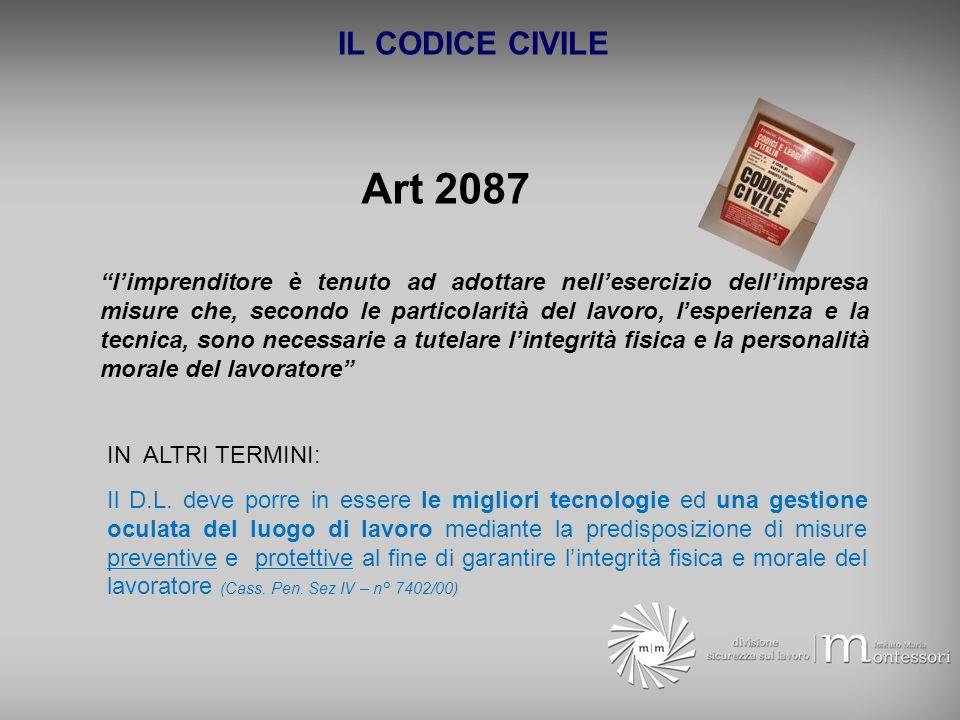 IL CODICE CIVILE Art 2087 limprenditore è tenuto ad adottare nellesercizio dellimpresa misure che, secondo le particolarità del lavoro, lesperienza e
