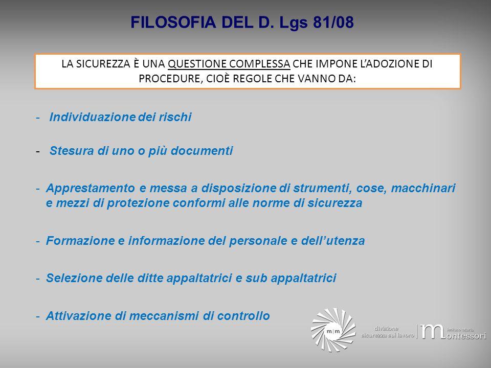 FILOSOFIA DEL D. Lgs 81/08 - Individuazione dei rischi - Stesura di uno o più documenti -Apprestamento e messa a disposizione di strumenti, cose, macc
