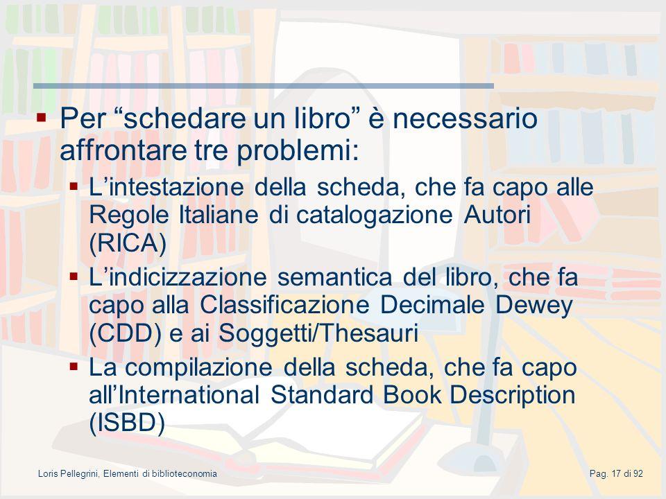 Loris Pellegrini, Elementi di biblioteconomiaPag.