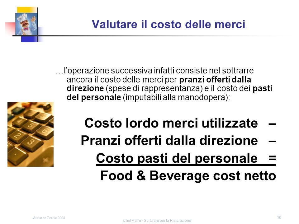 © Marco Terrile 2008 ChefMaTe - Software per la Ristorazione 10 Valutare il costo delle merci …loperazione successiva infatti consiste nel sottrarre a