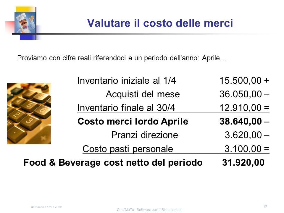 © Marco Terrile 2008 ChefMaTe - Software per la Ristorazione 12 Valutare il costo delle merci Proviamo con cifre reali riferendoci a un periodo dellan