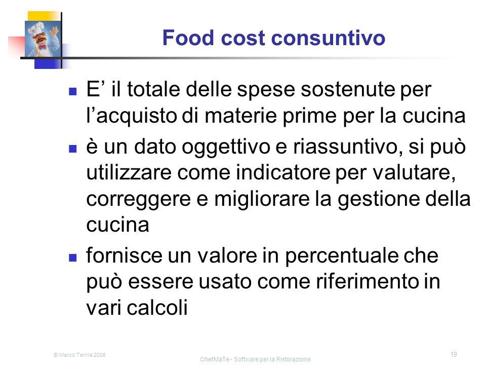 © Marco Terrile 2008 ChefMaTe - Software per la Ristorazione 19 Food cost consuntivo E il totale delle spese sostenute per lacquisto di materie prime