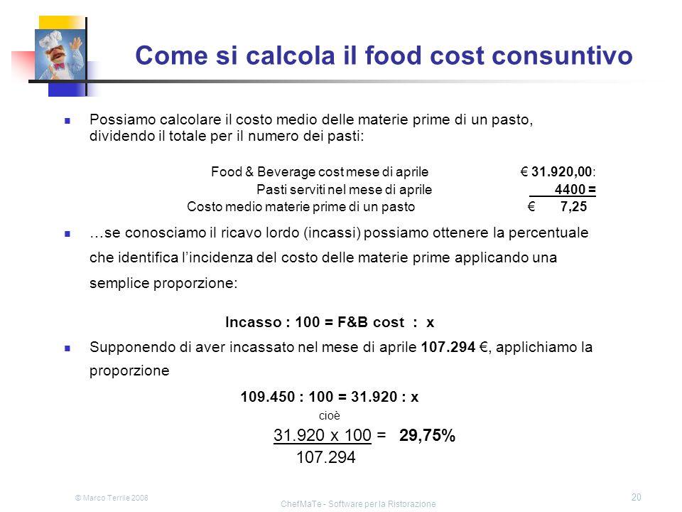 © Marco Terrile 2008 ChefMaTe - Software per la Ristorazione 20 Come si calcola il food cost consuntivo Possiamo calcolare il costo medio delle materi