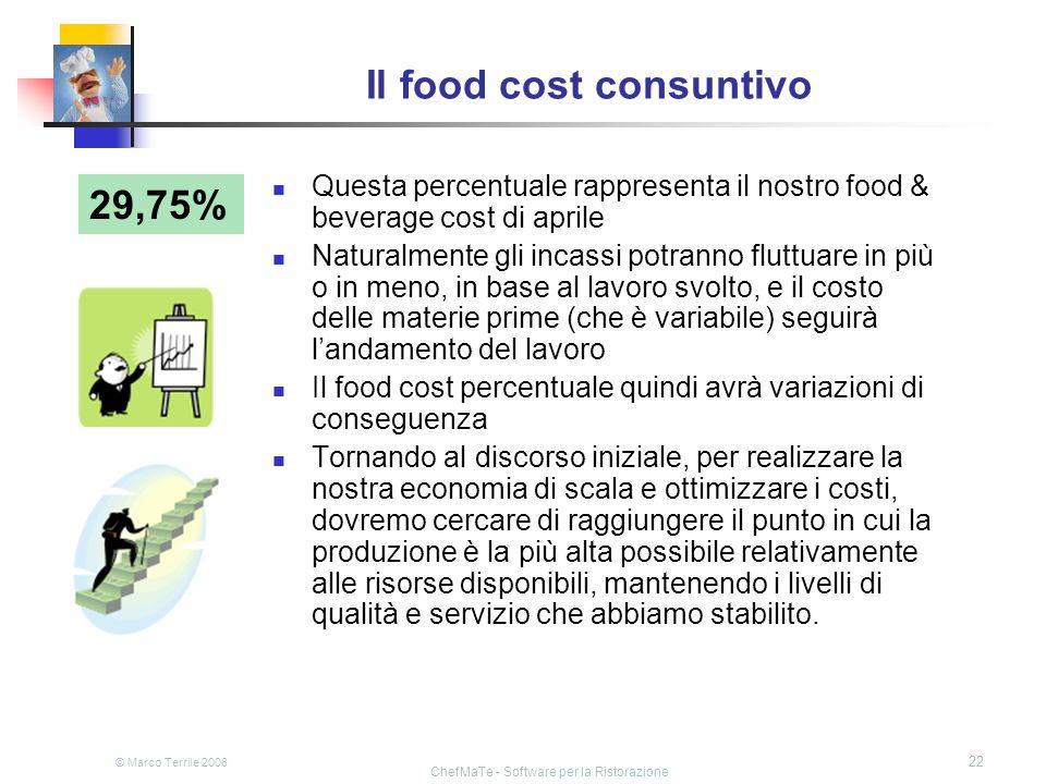 © Marco Terrile 2008 ChefMaTe - Software per la Ristorazione 22 Il food cost consuntivo 29,75% Questa percentuale rappresenta il nostro food & beverag