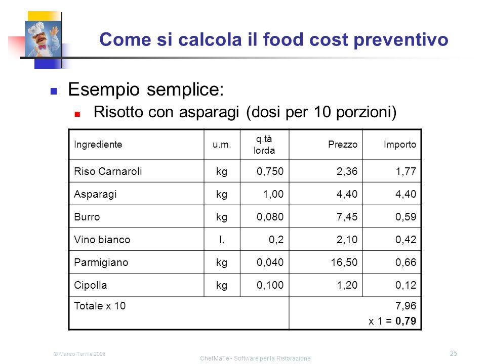 © Marco Terrile 2008 ChefMaTe - Software per la Ristorazione 25 Come si calcola il food cost preventivo Esempio semplice: Risotto con asparagi (dosi p