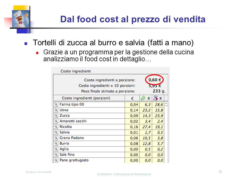 © Marco Terrile 2008 ChefMaTe - Software per la Ristorazione 32 Dal food cost al prezzo di vendita Tortelli di zucca al burro e salvia (fatti a mano)