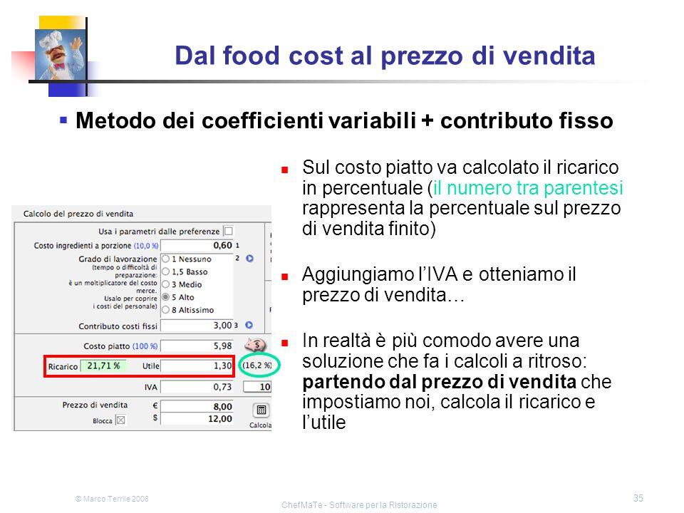 © Marco Terrile 2008 ChefMaTe - Software per la Ristorazione 35 Dal food cost al prezzo di vendita Sul costo piatto va calcolato il ricarico in percen