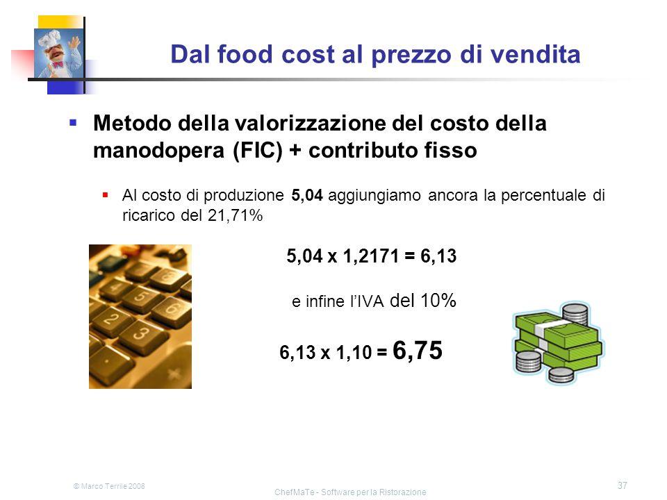 © Marco Terrile 2008 ChefMaTe - Software per la Ristorazione 37 Dal food cost al prezzo di vendita Metodo della valorizzazione del costo della manodop