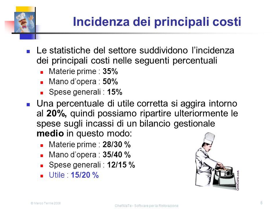 © Marco Terrile 2008 ChefMaTe - Software per la Ristorazione 8 Incidenza dei principali costi Le statistiche del settore suddividono lincidenza dei pr