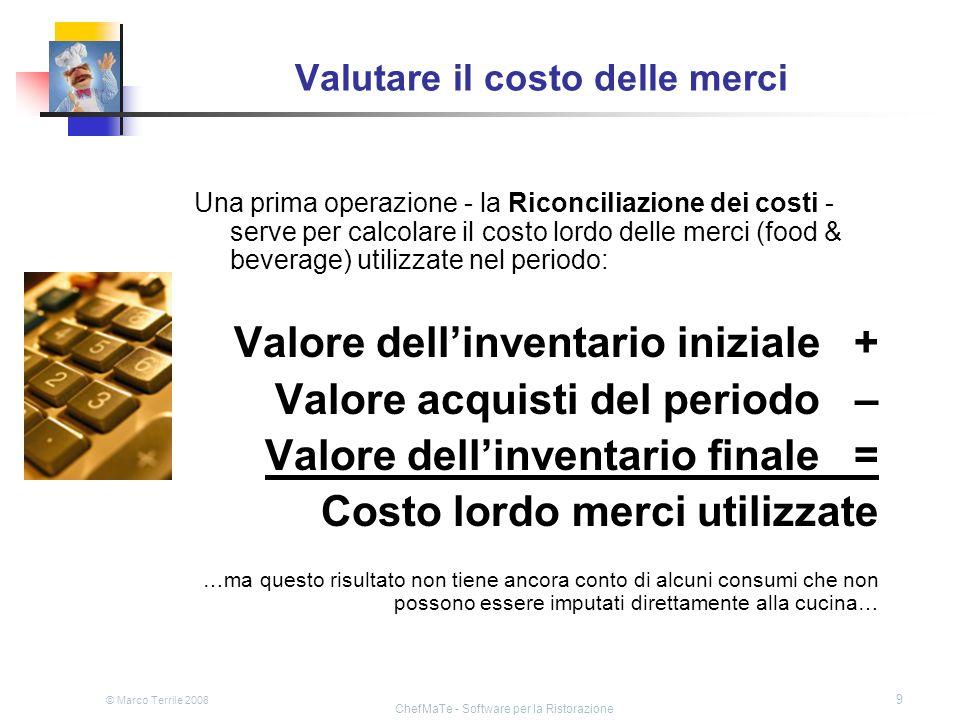 © Marco Terrile 2008 ChefMaTe - Software per la Ristorazione 30 Dal food cost al prezzo di vendita Ragionando su questi esempi, abbiamo usato gli indicatori di cui si parlava allinizio: la percentuale di food cost (29,75%) e le altre percentuali relative ai costi ci sono servite come riferimento nei calcoli.