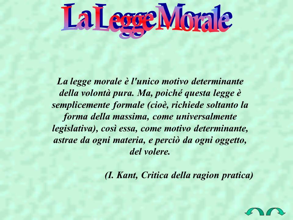 La legge morale è l'unico motivo determinante della volontà pura. Ma, poiché questa legge è semplicemente formale (cioè, richiede soltanto la forma de