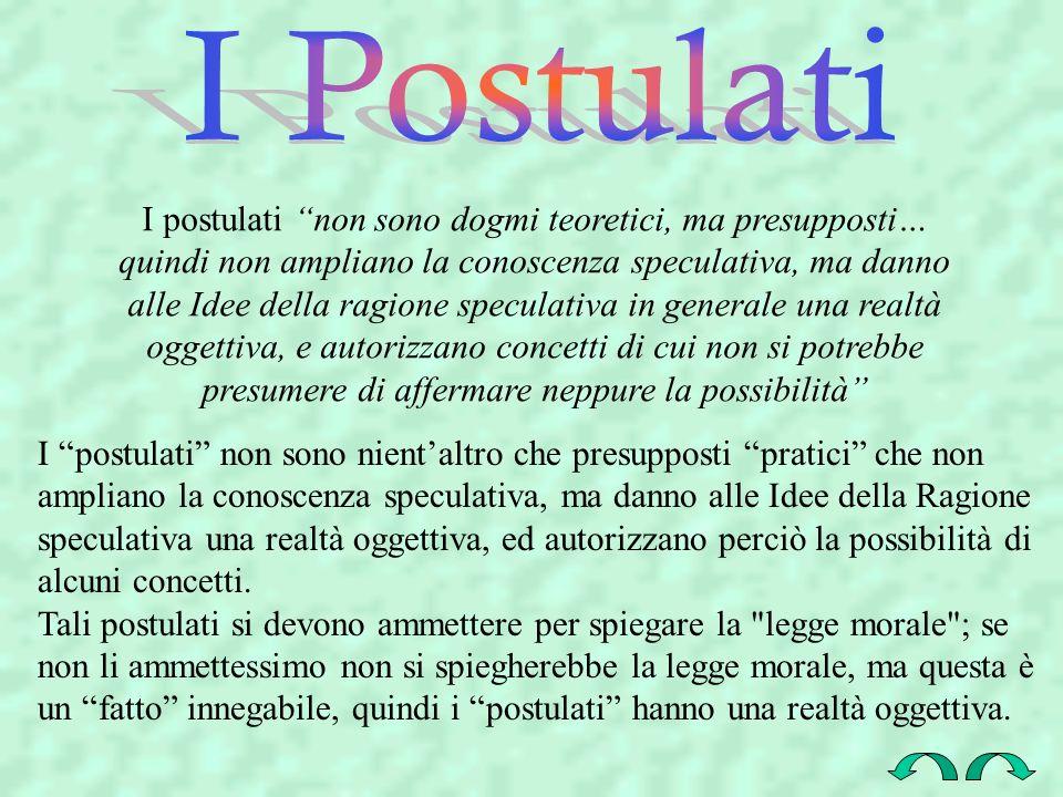 I postulati non sono dogmi teoretici, ma presupposti… quindi non ampliano la conoscenza speculativa, ma danno alle Idee della ragione speculativa in g