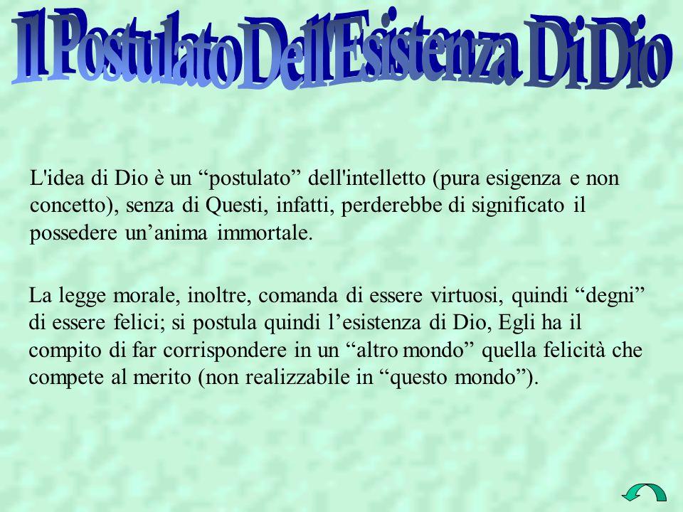 L'idea di Dio è un postulato dell'intelletto (pura esigenza e non concetto), senza di Questi, infatti, perderebbe di significato il possedere unanima