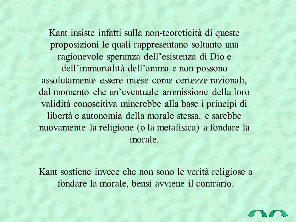 Kant insiste infatti sulla non-teoreticità di queste proposizioni le quali rappresentano soltanto una ragionevole speranza dellesistenza di Dio e dell
