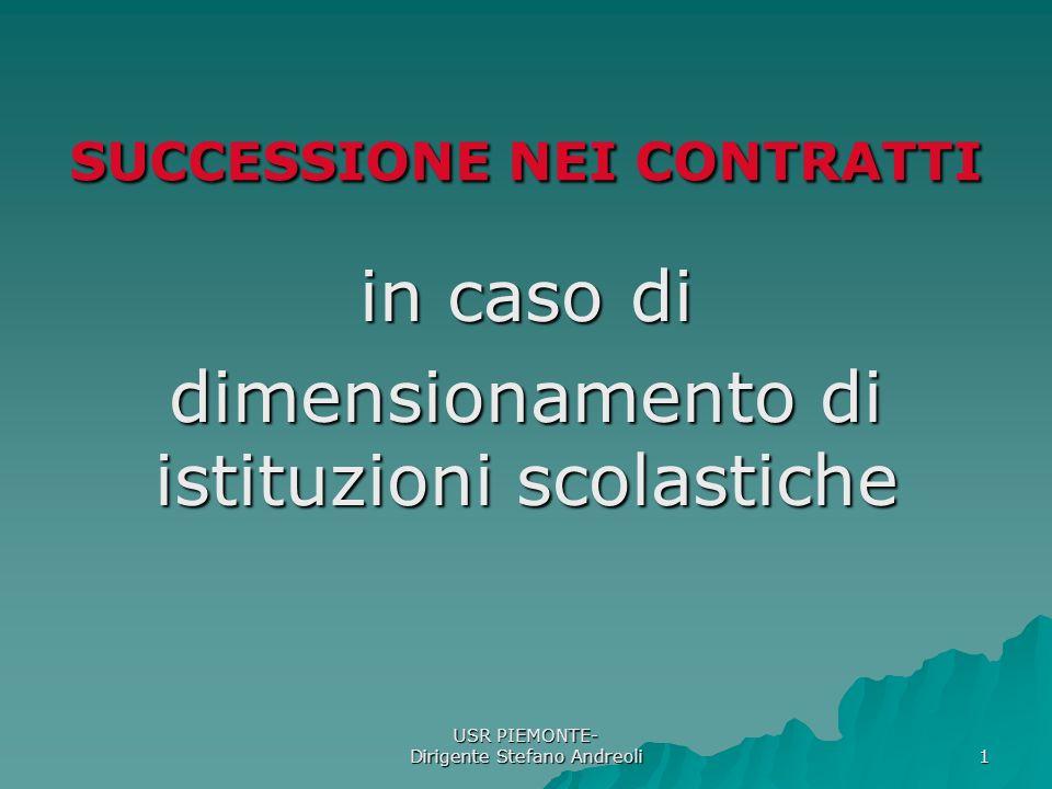USR PIEMONTE- Dirigente Stefano Andreoli 1 SUCCESSIONE NEI CONTRATTI in caso di dimensionamento di istituzioni scolastiche