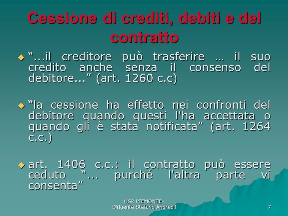 USR PIEMONTE- Dirigente Stefano Andreoli 7 Cessione di crediti, debiti e del contratto...il creditore può trasferire … il suo credito anche senza il consenso del debitore...