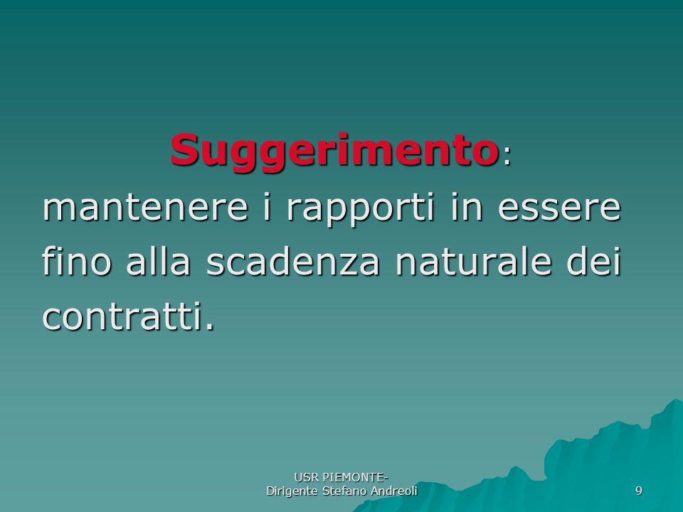 USR PIEMONTE- Dirigente Stefano Andreoli 9 Suggerimento : mantenere i rapporti in essere fino alla scadenza naturale dei contratti.