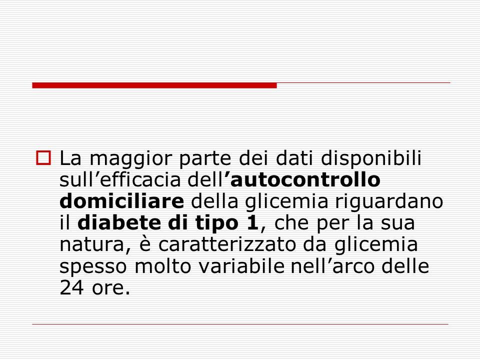 La maggior parte dei dati disponibili sullefficacia dellautocontrollo domiciliare della glicemia riguardano il diabete di tipo 1, che per la sua natur