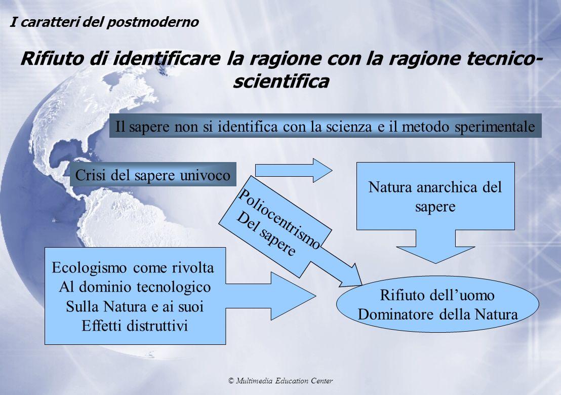 © Multimedia Education Center Rifiuto di identificare la ragione con la ragione tecnico- scientifica I caratteri del postmoderno Il sapere non si iden