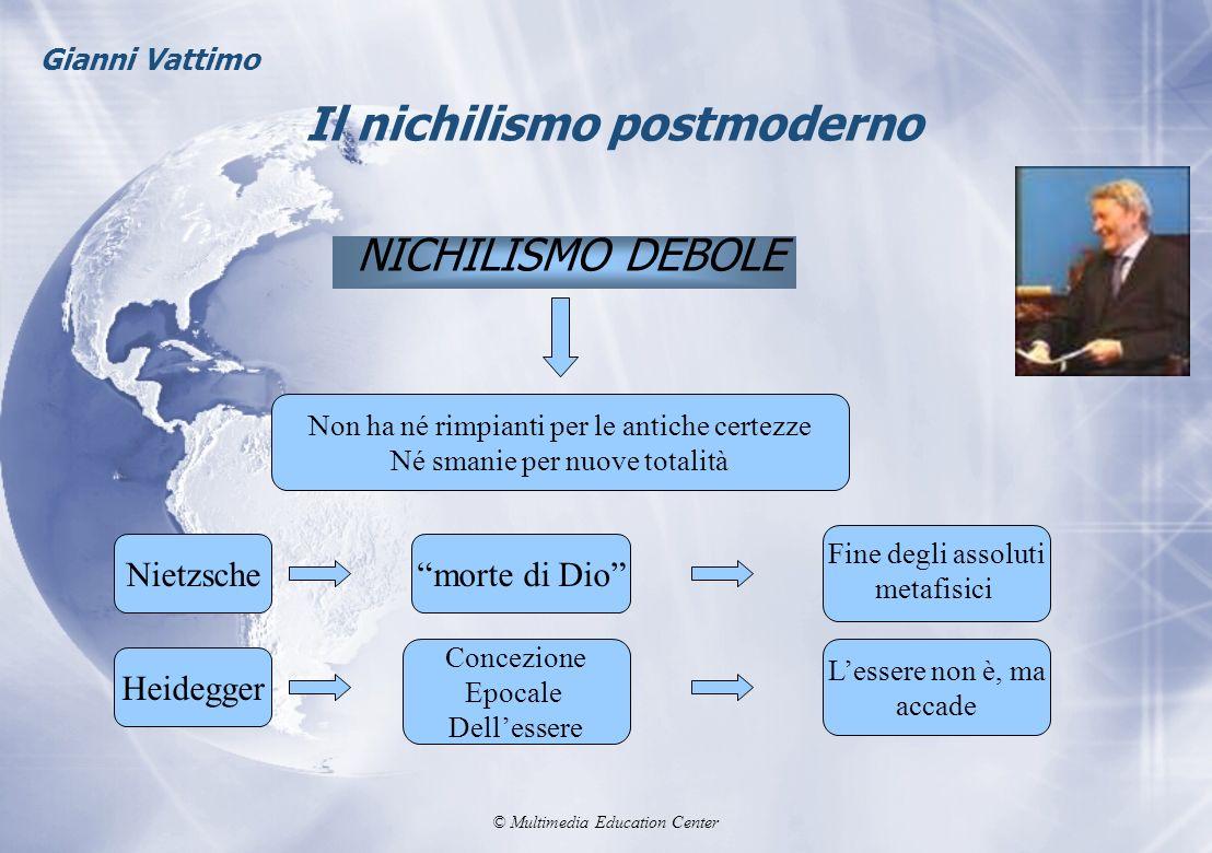 © Multimedia Education Center Il nichilismo postmoderno NICHILISMO DEBOLE Gianni Vattimo Non ha né rimpianti per le antiche certezze Né smanie per nuo