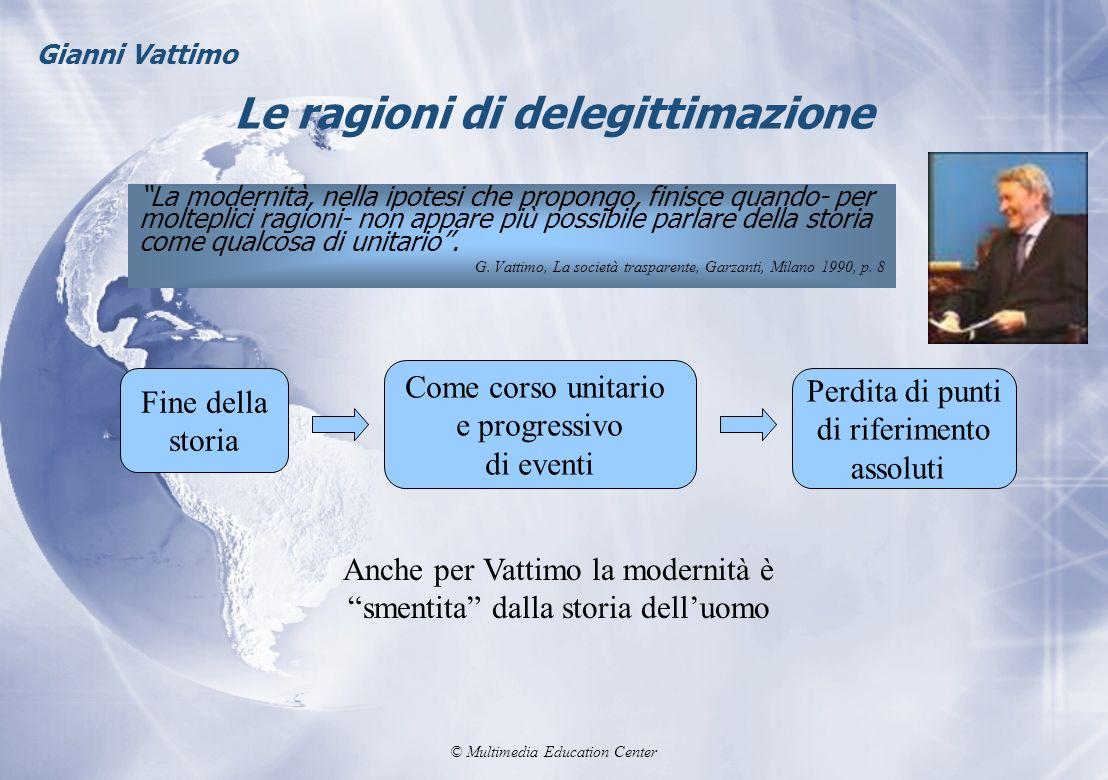 © Multimedia Education Center Le ragioni di delegittimazione La modernità, nella ipotesi che propongo, finisce quando- per molteplici ragioni- non app