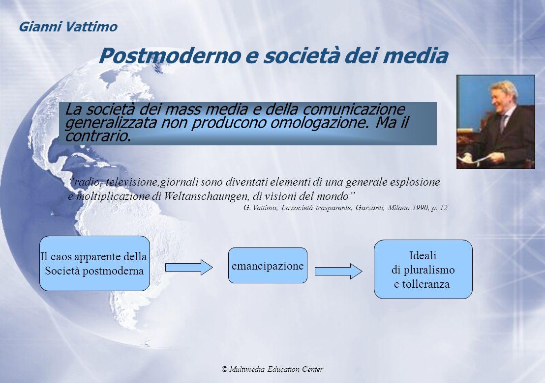 © Multimedia Education Center Postmoderno e società dei media La società dei mass media e della comunicazione generalizzata non producono omologazione