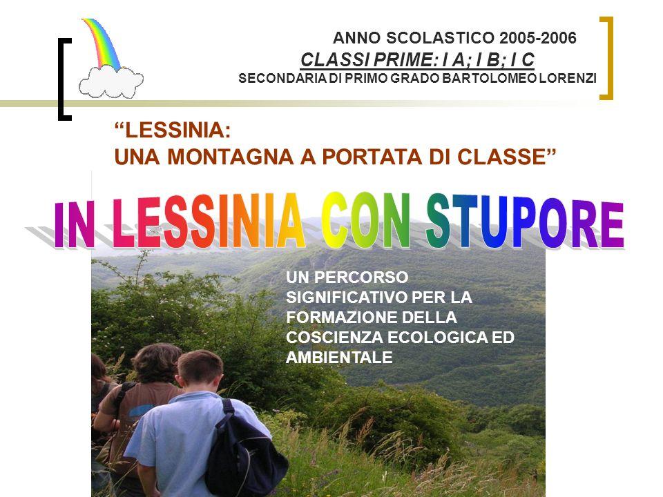 LESSINIA: UNA MONTAGNA A PORTATA DI CLASSE ANNO SCOLASTICO 2005-2006 CLASSI PRIME: I A; I B; I C SECONDARIA DI PRIMO GRADO BARTOLOMEO LORENZI UN PERCO