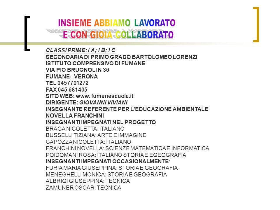 CLASSI PRIME: I A; I B; I C SECONDARIA DI PRIMO GRADO BARTOLOMEO LORENZI ISTITUTO COMPRENSIVO DI FUMANE VIA PIO BRUGNOLI N 36 FUMANE –VERONA TEL 0457701272 FAX 045 681405 SITO WEB: www.