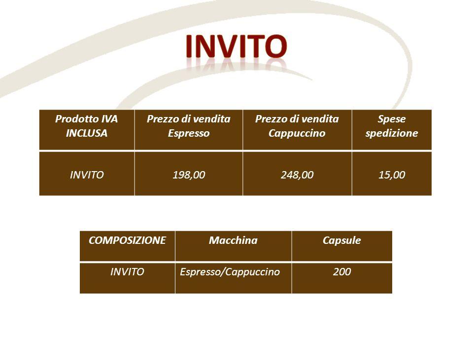 Prodotto IVA INCLUSA Prezzo di vendita Espresso Prezzo di vendita Cappuccino Spese spedizione INVITO 198,00 248,00 15,00 COMPOSIZIONEMacchinaCapsule I
