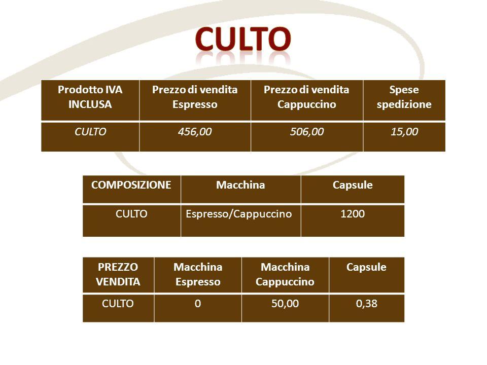 Prodotto IVA INCLUSA Prezzo di vendita Espresso Prezzo di vendita Cappuccino Spese spedizione CULTO456,00506,0015,00 COMPOSIZIONEMacchinaCapsule CULTO