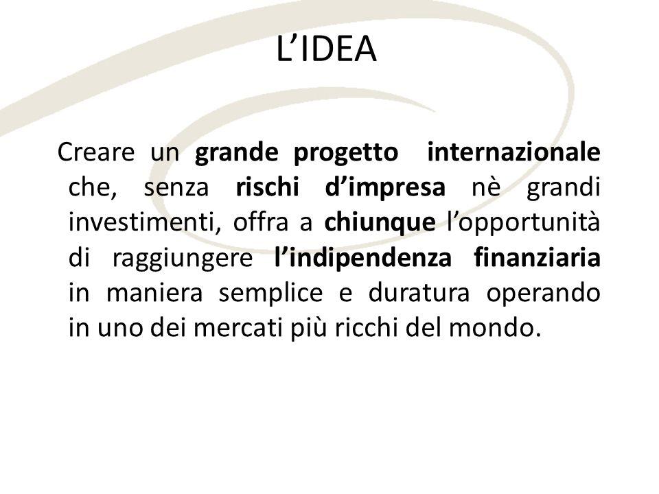 LIDEA Creare un grande progetto internazionale che, senza rischi dimpresa nè grandi investimenti, offra a chiunque lopportunità di raggiungere lindipe